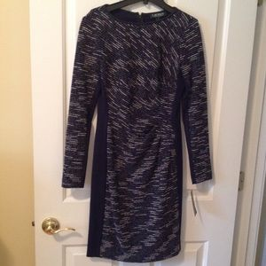 Ralph Lauren Navy & White Dress, Sz 2, NWT, Lg Slv